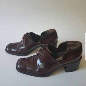 Via spiga brown lace up loafers size 6